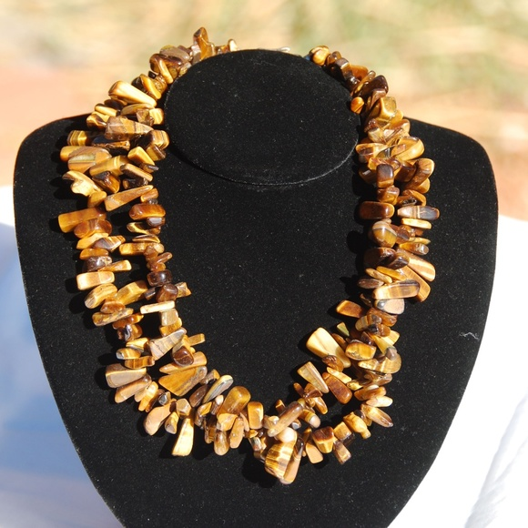 Double Strand Tiger's Eye Necklace 17""
